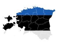 карта флага эстонии Стоковое Изображение RF