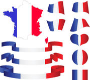 Карта, флаг, тесемки, сердце и шарик Франции Стоковое Изображение RF