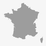 Карта Франции в сером цвете на белой предпосылке Стоковая Фотография