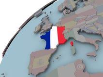 карта Франции флага Стоковое Изображение RF