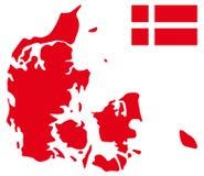 карта флага Дании Стоковые Изображения