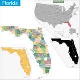 Карта Флориды Стоковое Изображение