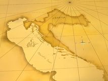 карта Хорватии Стоковое Изображение