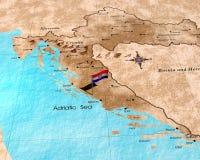 карта Хорватии Стоковая Фотография