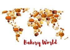 Карта хлеба хлебопекарни или мира вектора десертов бесплатная иллюстрация
