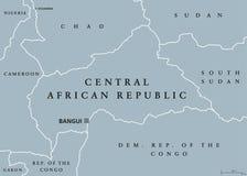Карта Центральноафриканской Республики политическая иллюстрация штока