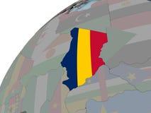 Карта Чада с флагом Стоковые Фото