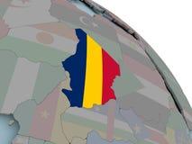 Карта Чада с флагом Стоковые Изображения RF