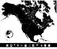 Карта черноты Северной Америки и плоские указатели карты иллюстрация штока