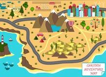 Карта шаржа с морем, горами, пустыней, и городом Стоковые Изображения RF