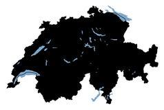 карта Швейцария озер Стоковые Фотографии RF