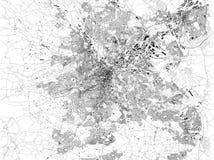 Карта Шеффилда, спутникового взгляда города, улиц и домов, Англии Стоковые Изображения