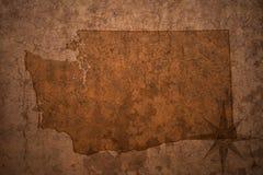 Карта штата Вашингтона на старой винтажной бумажной предпосылке стоковые фото