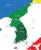 Карта юга и Северной Кореи Стоковая Фотография