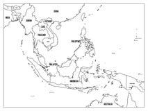 Карта Юго-Восточной Азии политическая Черный план на белой предпосылке с черными ярлыками имени страны Простой плоский вектор иллюстрация вектора