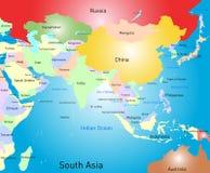 Карта Южной Азии Стоковая Фотография RF