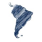 Карта Южной Америки иллюстрация вектора