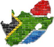 Карта Южной Африки на кирпичной стене Стоковые Изображения