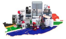 Карта Южной Африки с домом и кухонными приборами, renderi 3D бесплатная иллюстрация