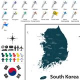 Карта Южной Кореи с разделениями Стоковое Изображение RF