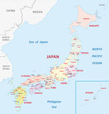 Карта Японии административная Стоковое Фото