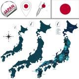Карта Японии с названными префектурами Стоковое Изображение RF