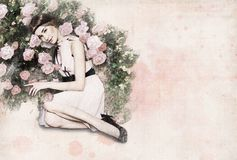 """карта """"девушка и цветки """" иллюстрация вектора"""