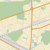 Карта ‹â€ ‹â€ города с дорогами и парками Стоковое Изображение