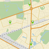 Карта ‹â€ ‹â€ города с дорогами, парками и бензоколонкой указателя иллюстрация вектора