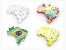 карта 3d Бразилии Стоковое Изображение
