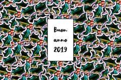Карта anno 2019 Buon С Новым Годом! на итальянском с листьями падуба как предпосылка стоковое изображение