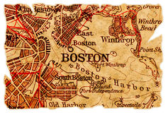 карта boston старая Стоковая Фотография RF