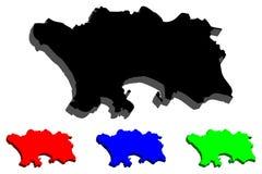 карта 3D Джерси Стоковое фото RF