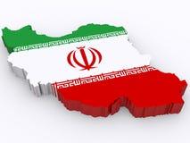 карта 3d Ирана Стоковое Изображение