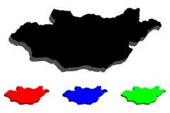 карта 3D Монголии Стоковая Фотография