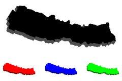карта 3D Непала Стоковое Изображение