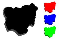 карта 3D Нигерии Стоковое Фото