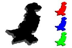 карта 3D Пакистана Стоковые Фотографии RF