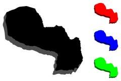 карта 3D Парагвая Стоковые Фото