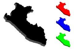 карта 3D Перу Стоковые Изображения RF