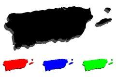 карта 3D Пуэрто-Рико Стоковые Фотографии RF