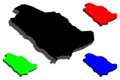 карта 3D Саудовской Аравии Стоковые Изображения RF