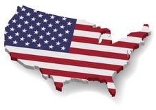 карта 3D Соединенных Штатов Америки с плоским флагом Стоковые Изображения