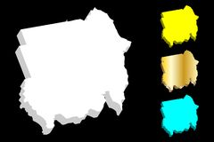 карта 3D Судана Стоковое фото RF