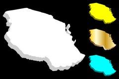 карта 3D Танзании Стоковое Фото