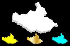 карта 3D южного Судана Стоковое Изображение