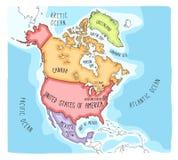 Карта Doodle Северной Америки иллюстрация штока