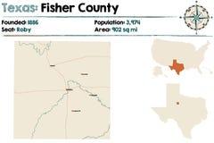 Карта Fisher County в Техасе иллюстрация штока