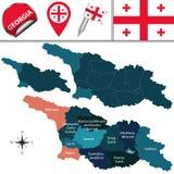 Карта Georgia с названными разделениями Стоковое Изображение RF