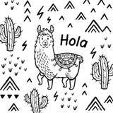 Карта Hola Печать вектора ламы мультфильма чернил иллюстрация вектора